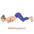 Women silhouette. Eight-Limbed Yoga Pose Ashtangasana