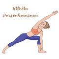 Women silhouette. Extended side angle yoga pose. Utthita Parsvakonasana