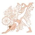 Women silhouette. One legged downward facing dog Yoga Pose. Eka Pada Adho Mukha Svanasa