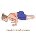 Women silhouette. Side Crane Crow Yoga Pose. Parsva Bakasana