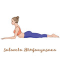 Women silhouette. Sphinx yoga Pose. Salamba Bhujangasana. Royalty Free Stock Photo