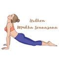 Women silhouette. Upward dog facing yoga pose. Urdhva mukha svanasana.