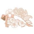 Women silhouette. Upward Plank Pose. Purvottanasana.