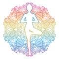 Women silhouette. Yoga tree pose. Vrikshasana.