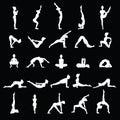 Women silhouettes. Collection of yoga poses. Asana set.