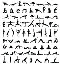 Women silhouettes. Collection of yoga poses. Asana set. Royalty Free Stock Photo