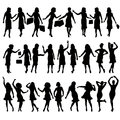 Women silhouettes of in various poses Royalty Free Stock Photo