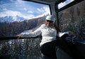 Women in a ski gondola . Royalty Free Stock Photo