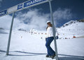 Women on a ski slope woman at the bottom of solden austria Stock Photography