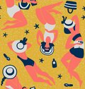 Women sunbathing Seamless pattern vector illustration