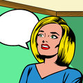 Women talkin woman face talking with speech bubble communication banner retro style Stock Photo