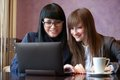 Women use netbook Royalty Free Stock Photos