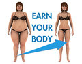 Women weight loss earn your body a fat woman and a thin woman after she loosing the fat a arrow showing the transformation with Royalty Free Stock Photos