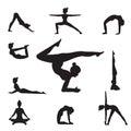 Women Yoga Poses Silhouettes .