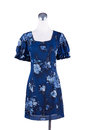 Womens beautiful blue pattern dress on mannequin Royalty Free Stock Photo