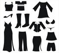 Womens clothing black icons Royalty Free Stock Photos