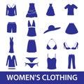 Dámské oblečení sada skládající se z ikon obdélník ohraničující tisknutelnou oblast10