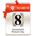 Womens day calendar vector of the date international th of march Royalty Free Stock Photography