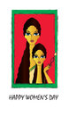 Womens day happy greeting card or background with illustration of mother and daughter on red background Royalty Free Stock Images