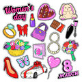 Womens Day 8 March Elements Set with Flowers and Cosmetics for Stickers, Badges, Patches