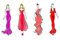 Womens in evening dresses Stock Photo