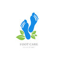 Womens foot care logo, label design. Female sole and green leaves.
