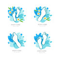 Womens foot care. Set of logo, label design. Female sole and flowers on water splash background.