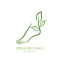 Womens foot with green plant and leaves. Vector logo, label, emblem design elements.