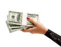 Womens Hand holding stacks of dollars banknotes Royalty Free Stock Photo