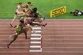 Womens 100 metres hurdles final at IAAF World Championships in Beijing, China Royalty Free Stock Photo