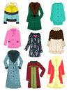 Womens outerwear a set of jackets coats sheepskin coats etc for the winter and late autumn Royalty Free Stock Photography