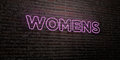 WOMENS -Realistic Neon Sign on Brick Wall background - 3D rendered royalty free stock image