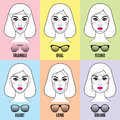 Womens sunglasses shapes for different face shapes various types of female faces in vector illustration Stock Photo