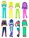 Womens tracksuits set of female isolated on white background Stock Photo