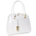 Womens white leather bag isolated on white Royalty Free Stock Photo