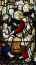 Wonder of jesus curing a sick girl stained glass photo Stock Photos
