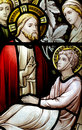 Wonder of Jesus: curing a sick man in stained glass Royalty Free Stock Photo