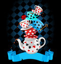 Wonder tea party pyramid design wonderland mad Royalty Free Stock Photo