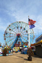 Wonder wheel at the coney island amusement park brooklyn new york april on april deno s a hundred and fifty foot Royalty Free Stock Photography