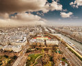 Wonderful aerial view of Paris from the top of Eiffel Tower Royalty Free Stock Photos