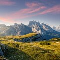 Wonderful Alpine highlands during sunrise. Morning view of Dololites mountains, Italian Dolomites Alps under sunlight Royalty Free Stock Photo