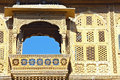 Wonderful balcony of rich haveli in jaisalmer india is called the gold city as almost all its buildings are sandstone citizens are Stock Photo
