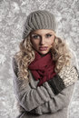Wonderful blonde girl in woolen winter clothes Stock Photography