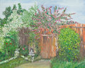 Wonderful garden oil painting illustrating a backyard with blossomed trees and vibrant colors Royalty Free Stock Image
