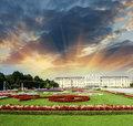 Wonderful gardens of schonbrunn castle in vienna summer colors with sunset sky Royalty Free Stock Images