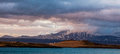 Wonderful icelandic nature landscape. High mountains, snow, mountain riwer and green grassland. Royalty Free Stock Photo