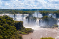 Wonderful panorama view of iguassu falls waterfall in brazil is the largest series waterfalls on the planet located argentina and Stock Photos