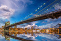 Wonderful panoramic sunset with brooklyn and manhattan bridge re reflections new york Royalty Free Stock Image