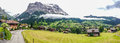 Wonderful Panoramic view of Grindelwald Landscape and Clipping Cloudscape on an overcast day, Berne Canton, Switzerland Royalty Free Stock Photo
