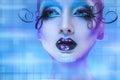 Wonderful portrait of beauty model looking away on blue backgrou Royalty Free Stock Photo